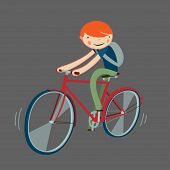 Boy Riding Bicycle. Cartoon Character Isolated. Vector Illustration.