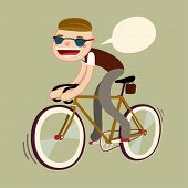 Hipster Boy Riding Bike. Fixie Bike Rider. Vector Character Isolated