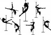 Seven pole dancers silhouettes