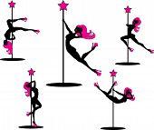 Glamourous pole dancers