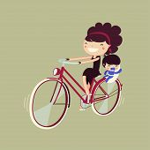 woman riding a bike with her baby