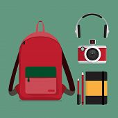 Red Backpack With Multiple Items.