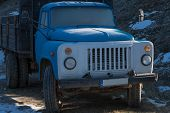 pic of truck farm  - Old russian truck Zil in the forest  - JPG