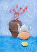 Still Life With Vase, Kettle, Lemon