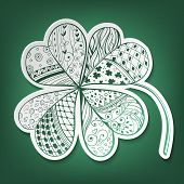 picture of four leaf clover  - Four leaf decorative white paper clover filled with hand - JPG