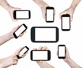 Set Of Children Hands With Smart Phones Isolated