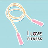 pic of skipping rope  - Skipping jumping rope I love fitness icon Sport background Flat design Vector illustration - JPG