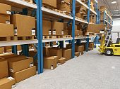 image of pallet  - fine 3d image of classic warehouse and forklift in action - JPG