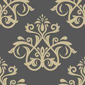 stock photo of damask  - Damask seamless floral golden pattern - JPG