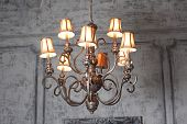 luxury chandelier in baroque interior