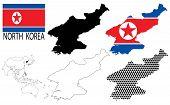 North Korea - Four optional contour maps, National flag and Asia map vector