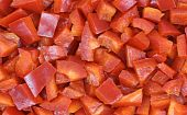 Close View Diced Red Fresno Pepper