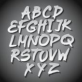 Vector Alphabet Set Art Grey Shadow Font
