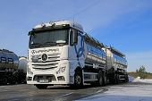 White Mercedes-benz Actros Tank Truck On Icy Yard