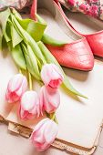 picture of ballerina  - Pink tulips with ballerinas shoes over white wooden table - JPG