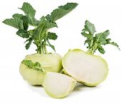 stock photo of kohlrabi  - fresh kohlrabi cabbage and a cut one isolated on a white background - JPG