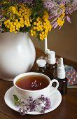 medicinal herbs, honey, herbal tea