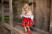 pic of national costume  - little blonde girl in ukrainian national costume are going for a walk - JPG