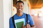 handsome african male university student portrait