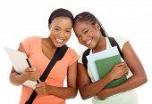 gorgeous female african university students isolated on white