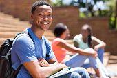 handsome african college boy portrait on campus