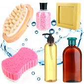 Collage of bath accessories isolated on white