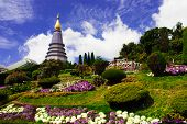 The Stupa Phra Mahathat Naphamethanidon At Doi Inthanon, The Highest Mountain Of Thailand, Amidst A