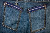 Blue Jeans Fabric With Pockets