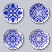 Set of floral circular plates