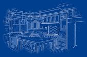 Beautiful Custom Kitchen Design Drawing in White On Blue Background.