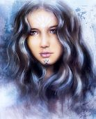 A Beautiful Airbrush Painting Of An Enchanting Woman Face  With Structure Colour Background