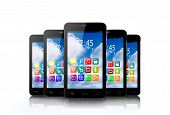 Five Touchscreen Smartphone With Application Icons