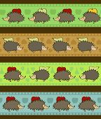Set Of 4 Decorative Borders With Cartoon Hedgehogs.