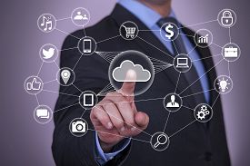 picture of touching  - Pushing Touch Cloud Computing Button  cloudscape solution ideas - JPG