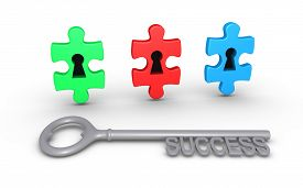 foto of keyholes  - Three puzzle pieces of different color with keyholes and a key of success - JPG