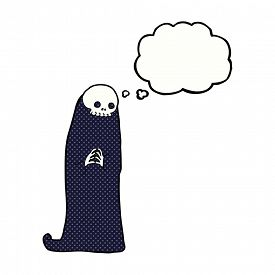 picture of ghoul  - cartoon halloween ghoul with thought bubble - JPG