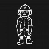 stock photo of fireman  - Fireman Doodle - JPG