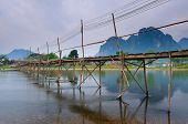 Bridge to riverside guesthouse, Vang vieng, Laos