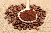 image of coffee grounds  - Ground coffee on wooden scoop lying on heap of coffee beans coffee grains - JPG