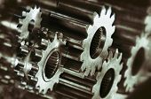 pic of titanium  - cogwheels and gears in titanium and steel - JPG
