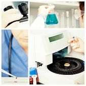 pic of microscope slide  - Male laboratory assistant using a centrifuge against blondhaired female scientist preparing a microscope slide - JPG