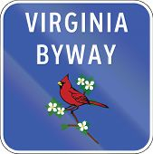 picture of cardinals  - Scenic byway shield in Virginia USA showing the state bird the Cardinal  - JPG