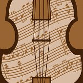 stock photo of viola  - Beautiful viola with music sheet in the brown colour - JPG