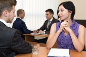 image of interview  - Job interview. Many business people are passing interview at the office ** Note: Shallow depth of field - JPG