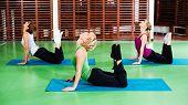 foto of cobra  - Girls practicing yoga - JPG