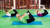 stock photo of dhanurasana  - Girls practicing yoga - JPG