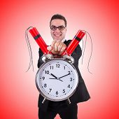 picture of time-bomb  - Man with time bomb isolated on white - JPG