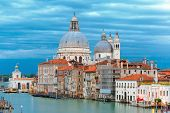 picture of mary  - Grand canal and The Basilica of St Mary of Health  or Basilica di Santa Maria della Salute at twilight in Venice - JPG