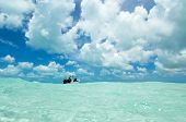 picture of sky diving  - A Dive Boat under a cloudy sky in  In Los Roques - JPG