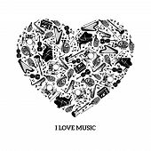 pic of heart sounds  - Love music concept with black icons musical instruments in heart shape vector illustration - JPG